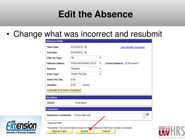 Edit the Absence