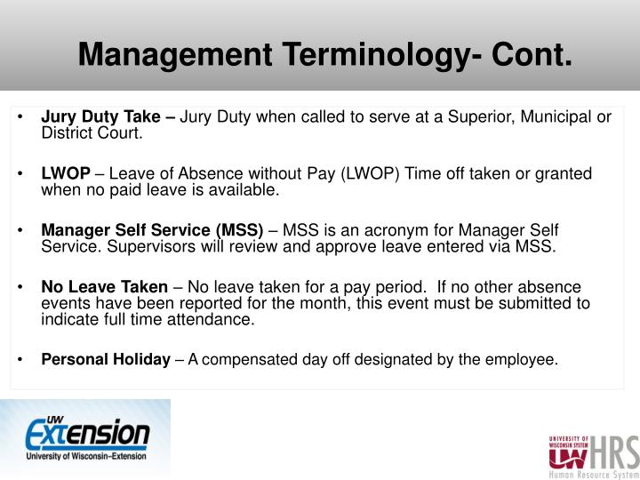 Management Terminology- Cont.