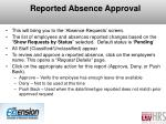 reported absence approval
