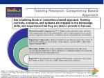 training research competency based approach