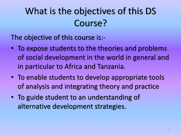 What is the objectives of this DS Course?