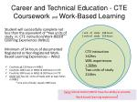 career and technical education cte coursework and work based learning