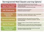 nonregistered work based learning options