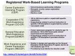 registered work based learning programs