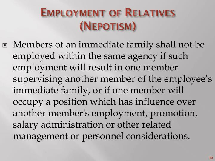 Employment of Relatives