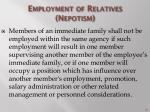 employment of relatives nepotism