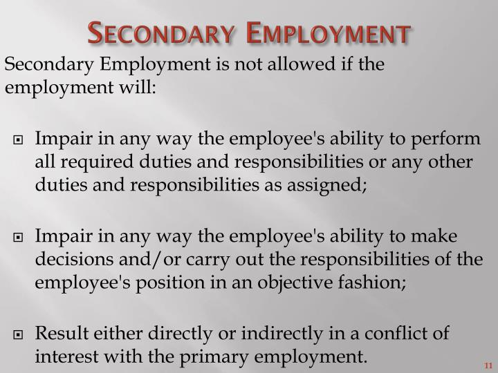Secondary Employment