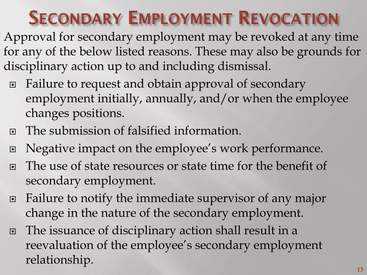 Secondary Employment Revocation