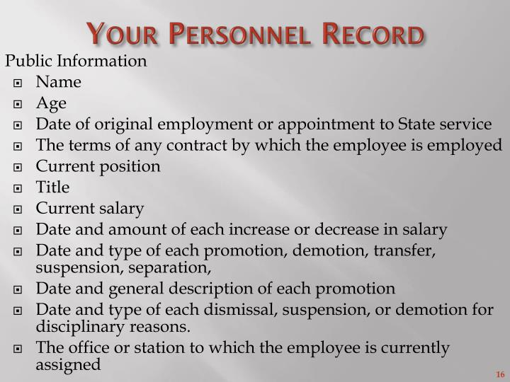Your Personnel Record