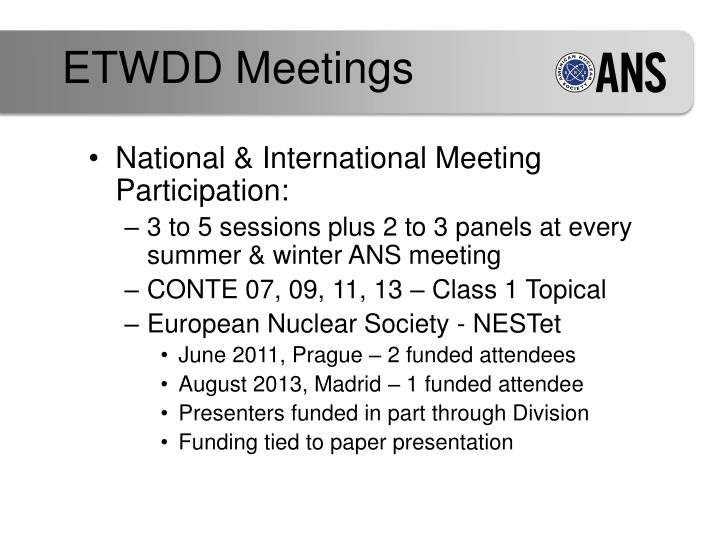 ETWDD Meetings