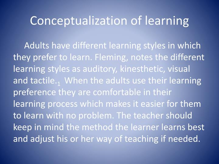 Conceptualization of learning