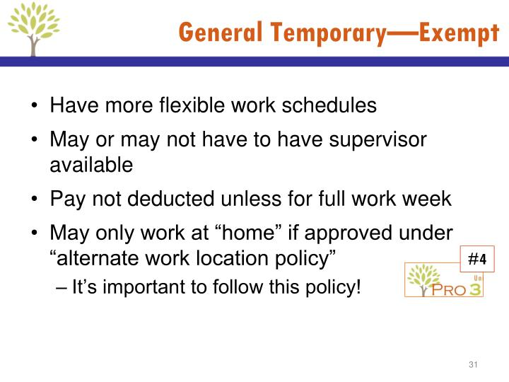 General Temporary—Exempt