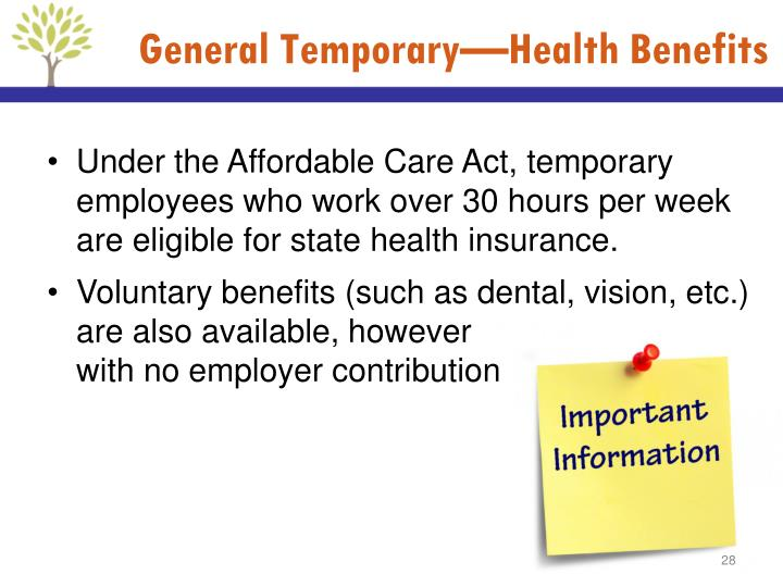 General Temporary—Health Benefits