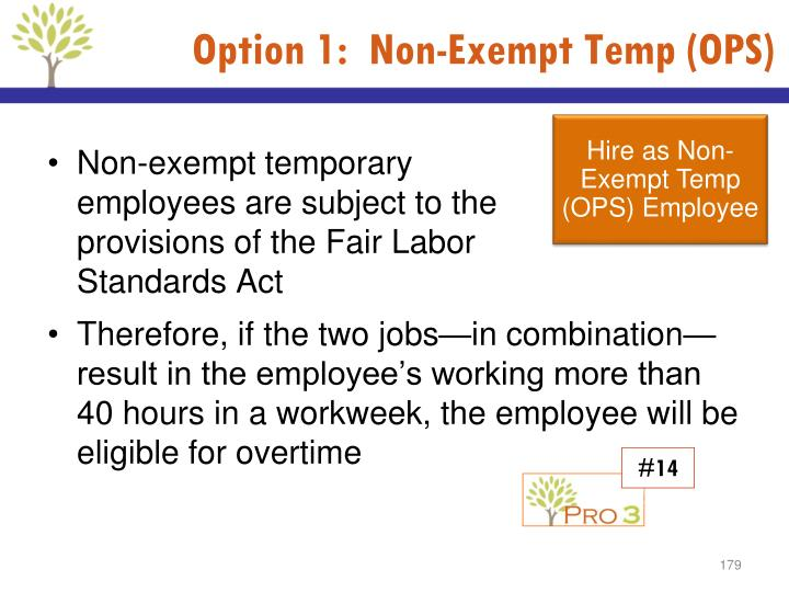 Option 1:  Non-Exempt Temp (OPS)