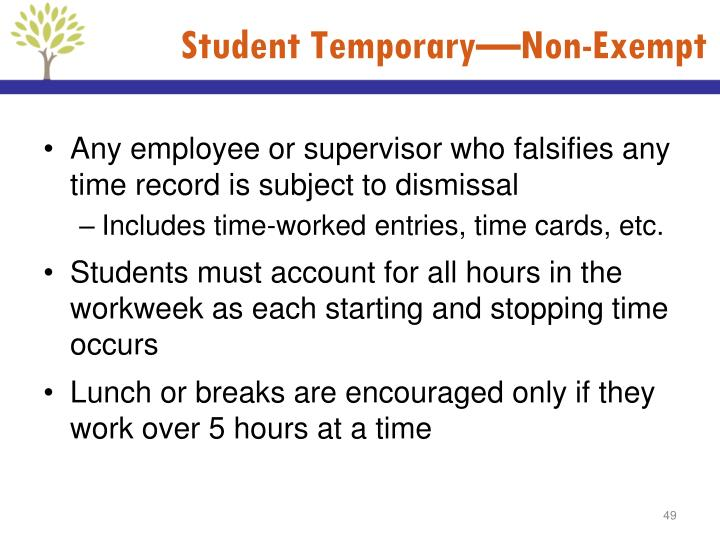 Student Temporary—Non-Exempt
