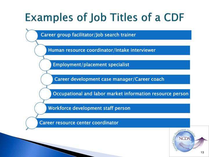 Examples of Job Titles of a CDF