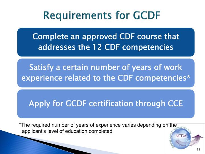 Requirements for GCDF
