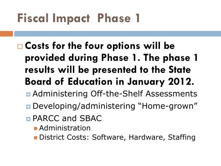 Fiscal Impact  Phase