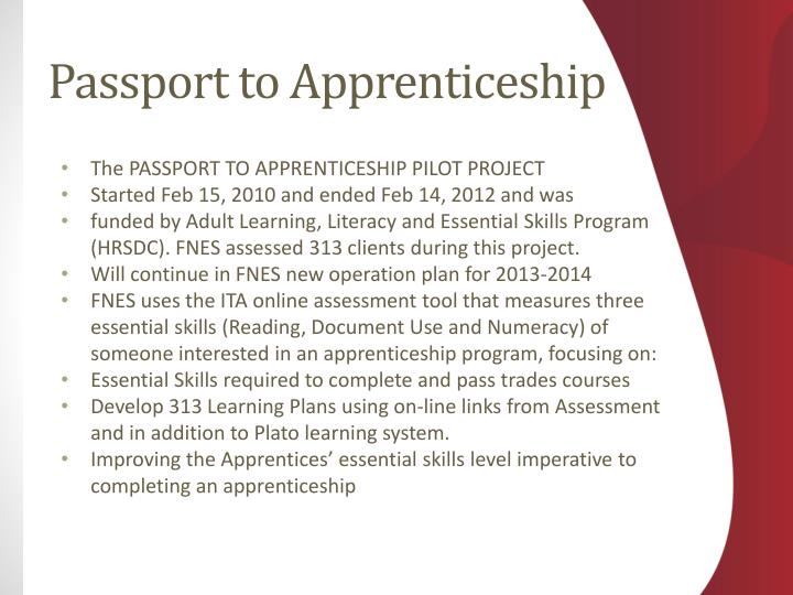 The PASSPORT TO APPRENTICESHIP PILOT PROJECT