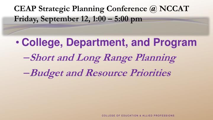 CEAP Strategic Planning Conference @ NCCAT