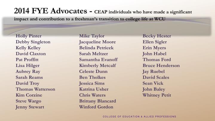 2014 FYE Advocates -