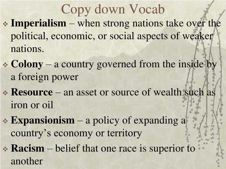 Copy down
