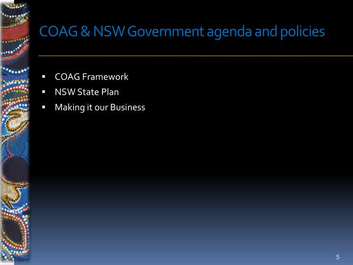 COAG & NSW Government agenda and policies