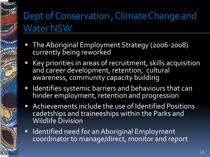 Dept of Conservation , Climate Change and Water NSW
