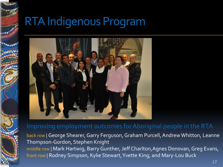 RTA Indigenous Program