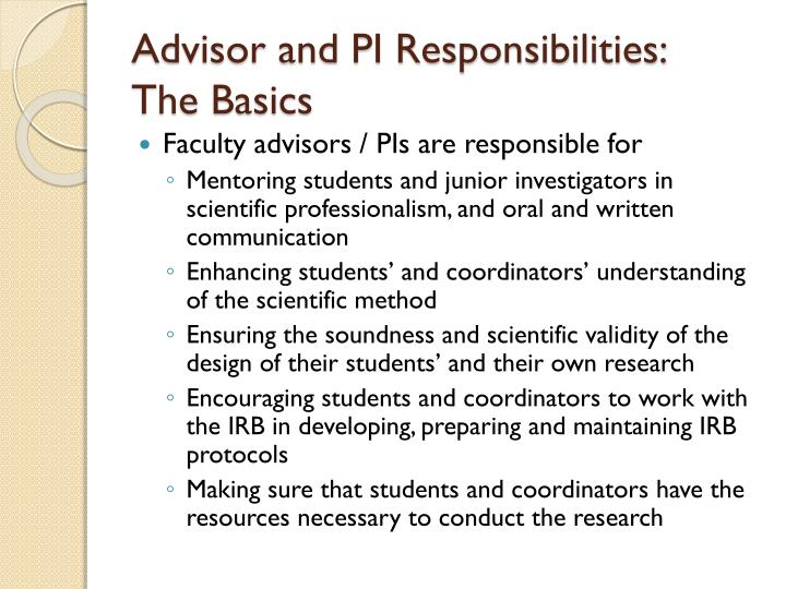 Advisor and PI Responsibilities: