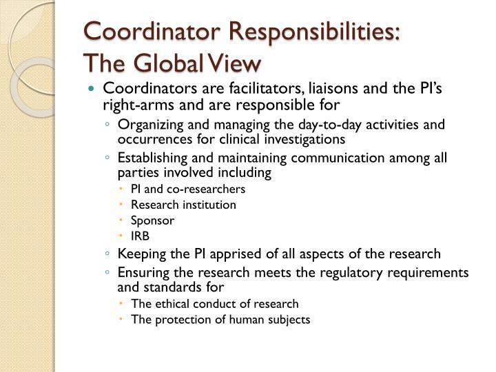 Coordinator Responsibilities: