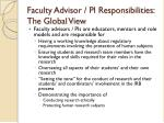 faculty advisor pi responsibilities the global view