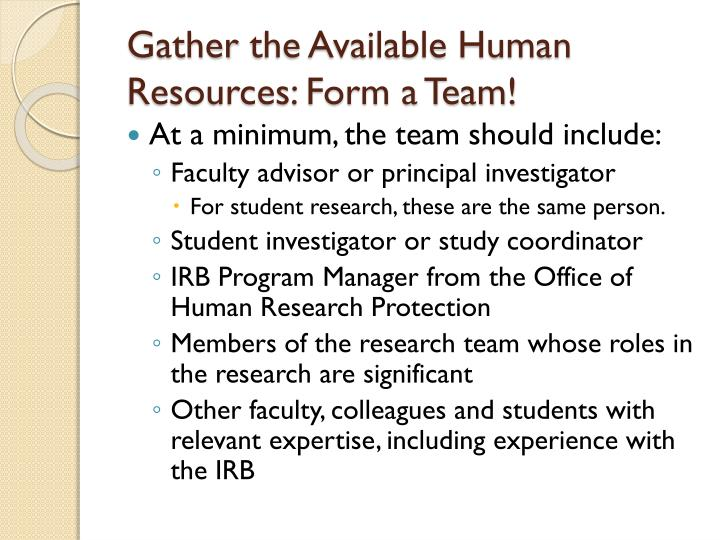 Gather the available human resources form a team