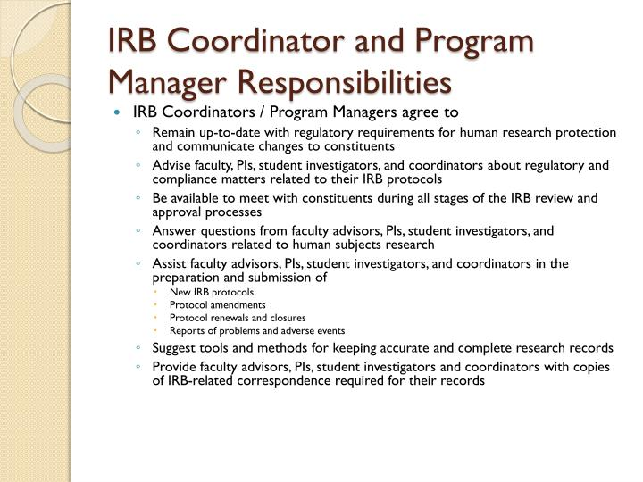 IRB Coordinator and Program Manager Responsibilities