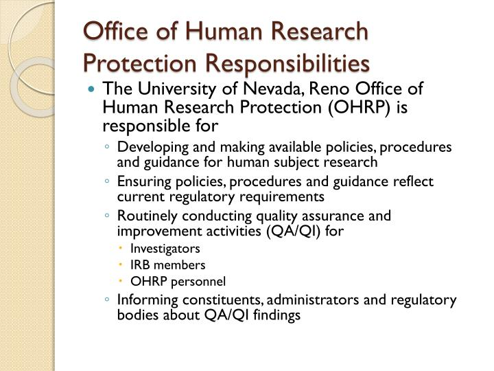 Office of Human Research Protection Responsibilities