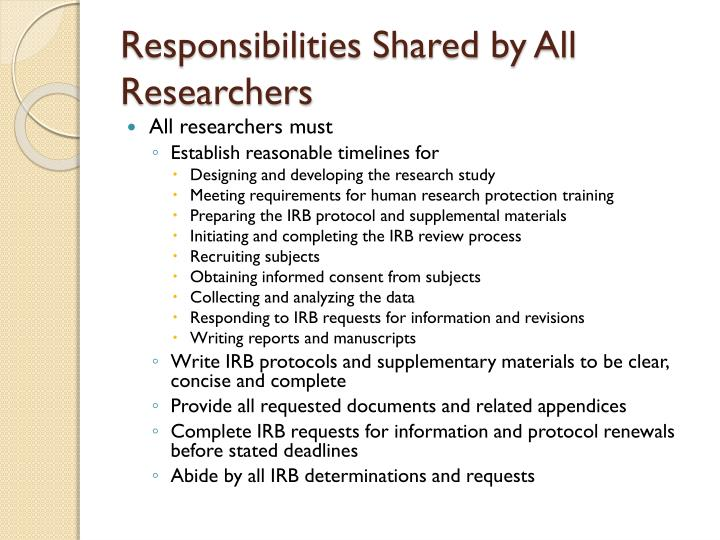 Responsibilities Shared by All Researchers