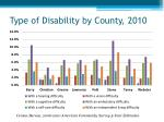 type of disability by county 2010