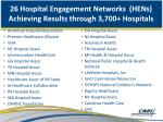 26 hospital engagement networks hens achieving results through 3 700 hospitals