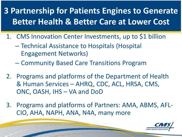 3 Partnership for Patients Engines to Generate