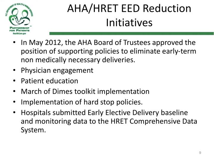 AHA/HRET EED Reduction Initiatives