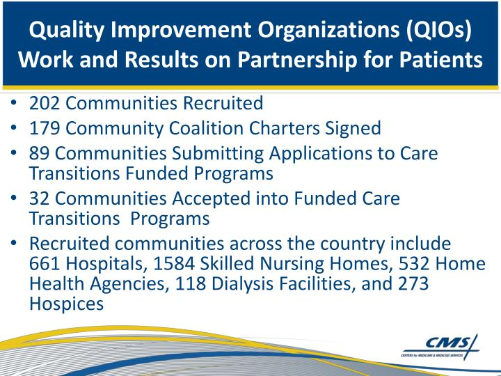 Quality Improvement Organizations (QIOs) Work and Results on Partnership for Patients