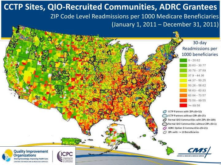CCTP Sites, QIO-Recruited Communities, ADRC Grantees