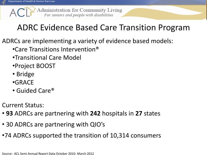 ADRC Evidence Based Care Transition Program
