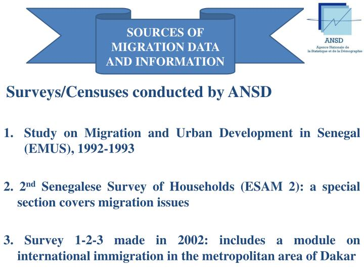SOURCES OF MIGRATION DATA AND INFORMATION