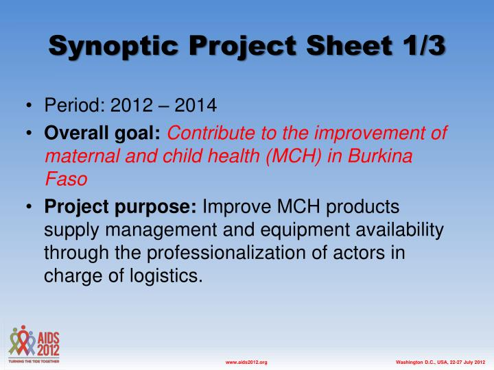 Synoptic Project Sheet 1/3