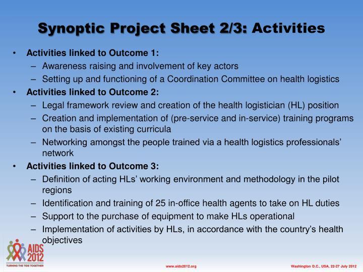 Synoptic Project Sheet 2/3: