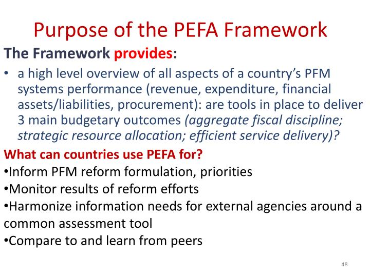 Purpose of the PEFA Framework