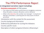 t he pfm performance report