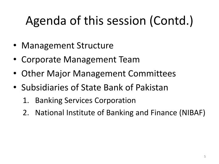 Agenda of this session (Contd.)