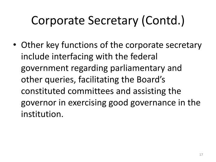 Corporate Secretary (Contd.)